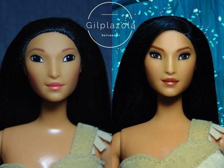 Muñeca tipo Barbie repintada para dar mayor parecido a Pocahontas