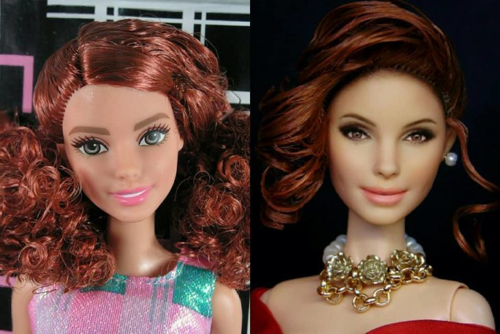 Muñeca tipo Barbie repintada para dar mayor parecido a Vivian Ward de la película Pretty Woman