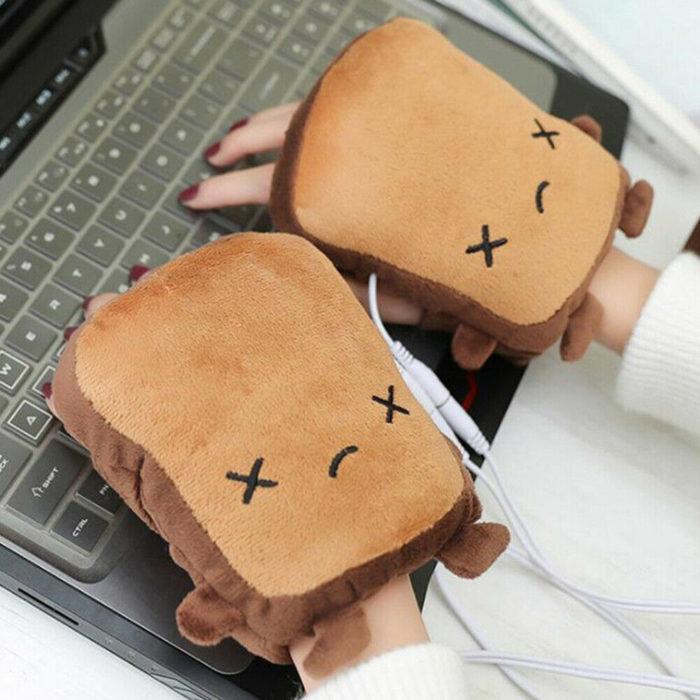 Guantes en forma de waffle con calentador USB