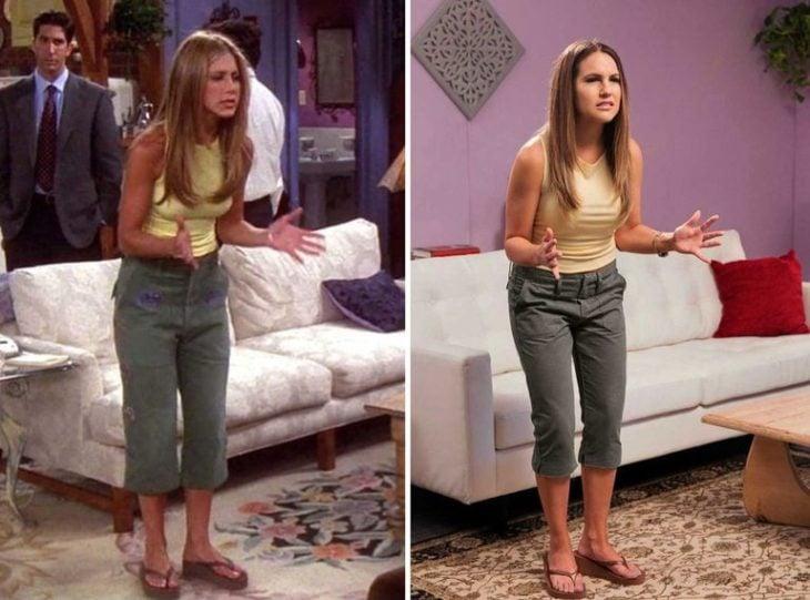 Outfit inspirado en Rachel de Friends usando pantalón capri y blusa amarilla con sandalias