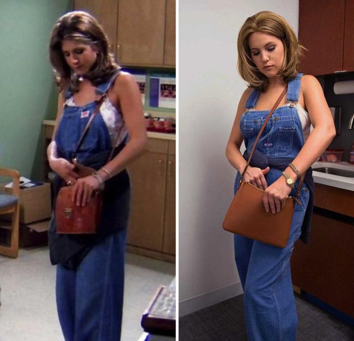 Outfit inspirado en Rachel de Friends usando un overol de mezclilla