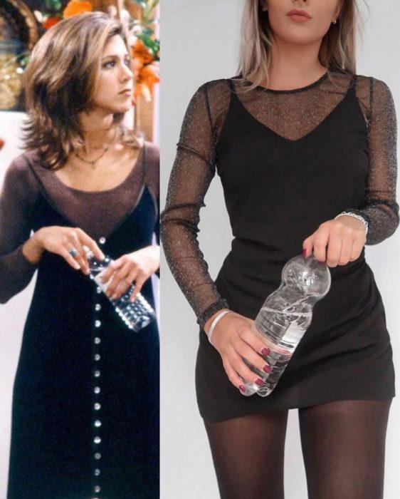 Outfit inspirado en Rachel de Friends usando vestido negro y ensamble de transparencia