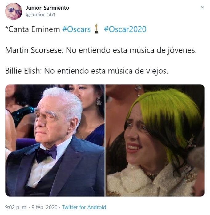 Captura de Twitter de las reacciones de Billie Elish y Martin Scorsese a la presentación de Eminem