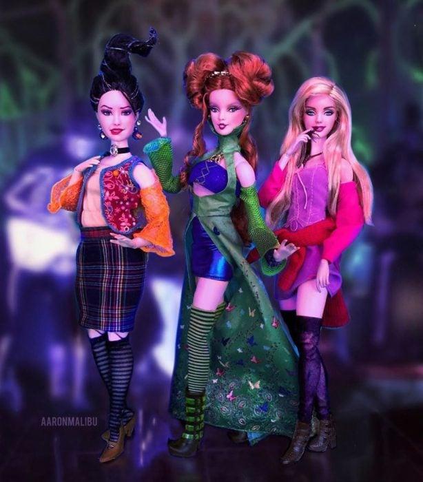 Muñecos Barbie utilizados para recrear la escena de hokus Pokus