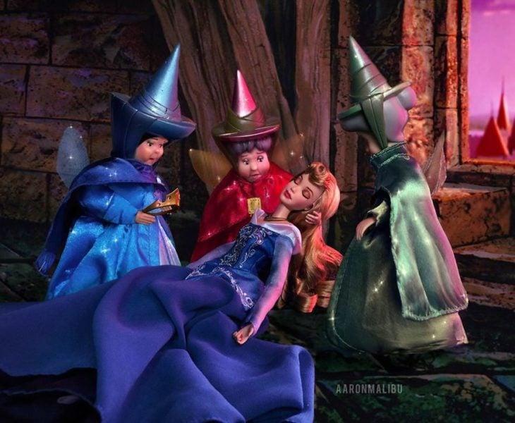 Muñecos Barbie utilizados para recrear la escena de La bella durmiente