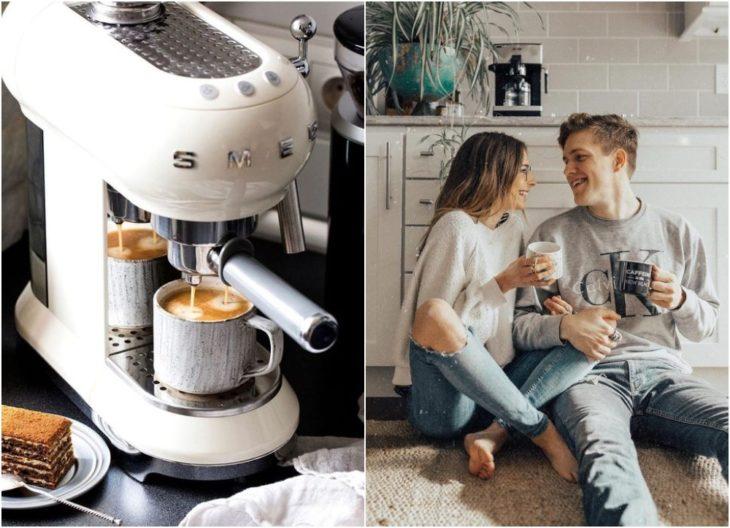 Pareja de novios bebiendo café express
