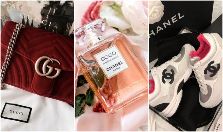 Bolso, perfume y tenis de diseñador Gucci, Coco Channel
