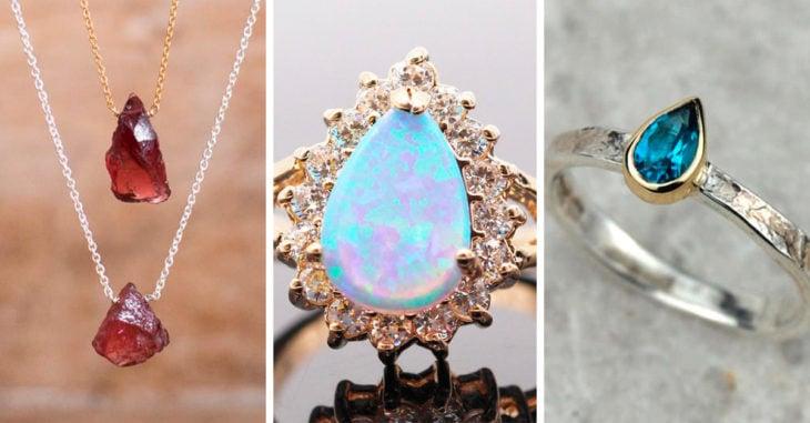 Collares, anillos y piedras preciosas de cuarzo
