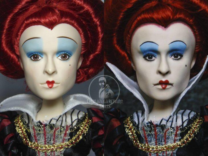 Muñeca tipo Barbie repintada para dar mayor parecido a la Reyna de Corazones de Alice in Wonderland