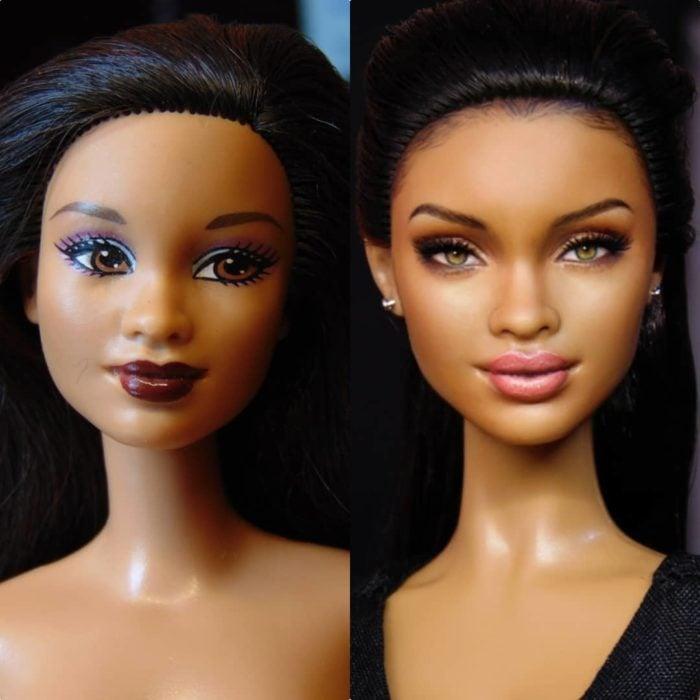 Muñeca tipo Barbie repintada para dar mayor parecido a la cantante Rihanna