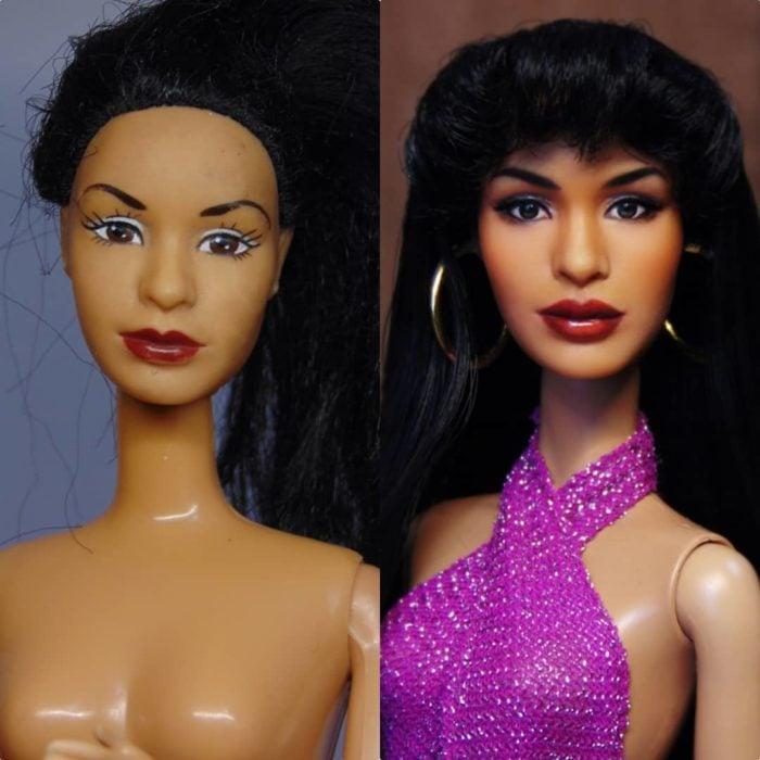 Muñeca tipo Barbie repintada para dar mayor parecido a la cantante Selena Quintanilla