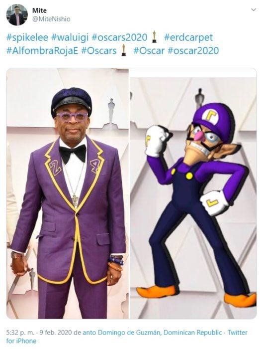 Captura de Twitter del vestuario de Spikelee en la alfombra roja de los Oscars 2020