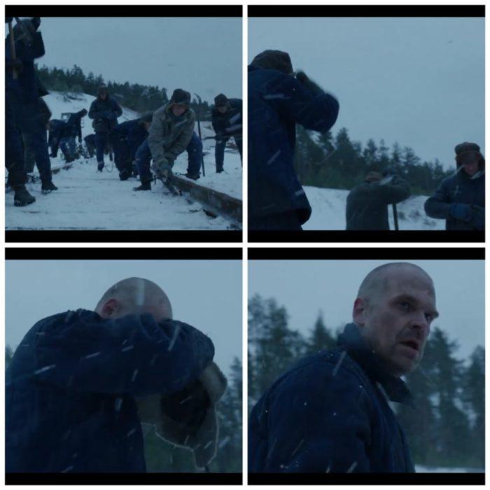 Jim Hopper en un campo militar ruso, escena de Stranger Things 4