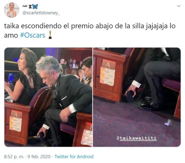 Captura de Twitter de Taika guardando su Oscar en el asiento del teatro