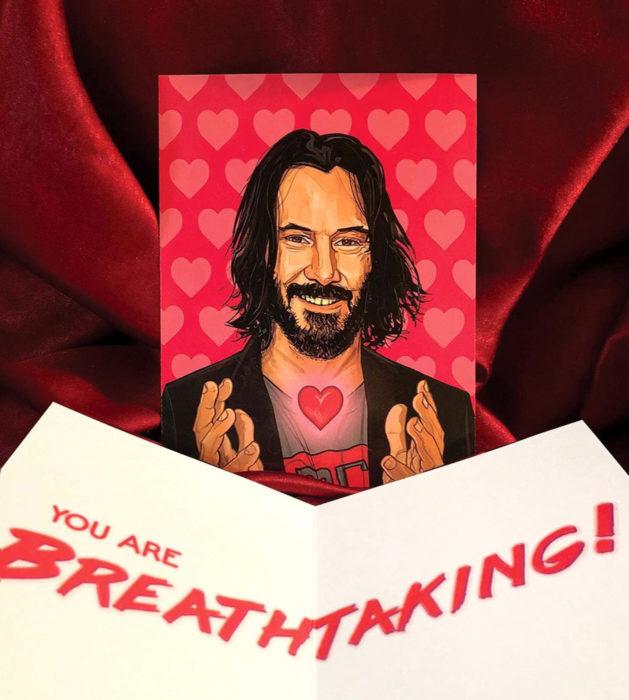 El ilustrador PJ McQuade crea tarjetas de San Valentín de famosos y películas para gemte geek; Keanu Reeves