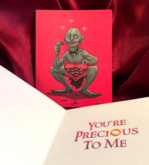 El ilustrador PJ McQuade crea tarjetas de San Valentín de famosos y películas para gemte geek; Gollum, Lord of rings, El señor de los anillos