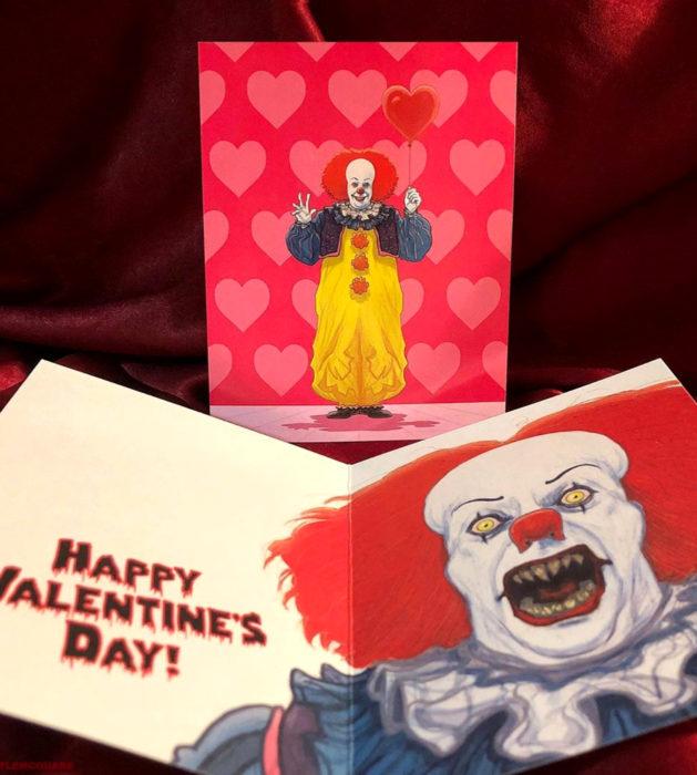 El ilustrador PJ McQuade crea tarjetas de San Valentín de famosos y películas para gemte geek; payaso Pennywise, It, Eso