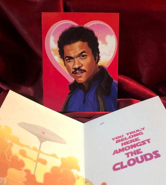 El ilustrador PJ McQuade crea tarjetas de San Valentín de famosos y películas para gemte geek; Lando Calrissian, Star Wars