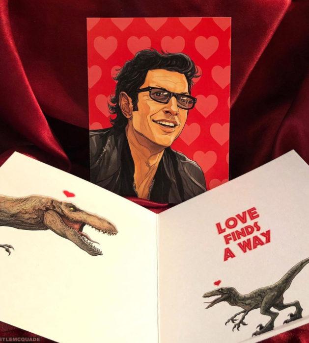 El ilustrador PJ McQuade crea tarjetas de San Valentín de famosos y películas para gemte geek; Ian Malcolm, Jurassic Park