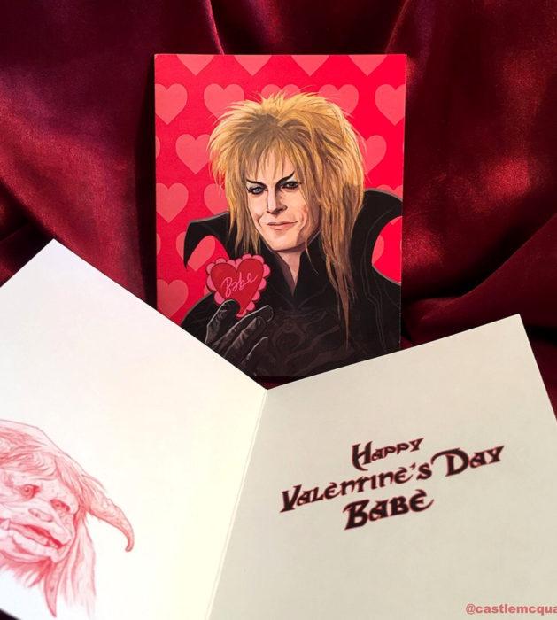 El ilustrador PJ McQuade crea tarjetas de San Valentín de famosos y películas para gemte geek; Jareth, el rey de los goblins, Labyrinth, Dentro del laberinto