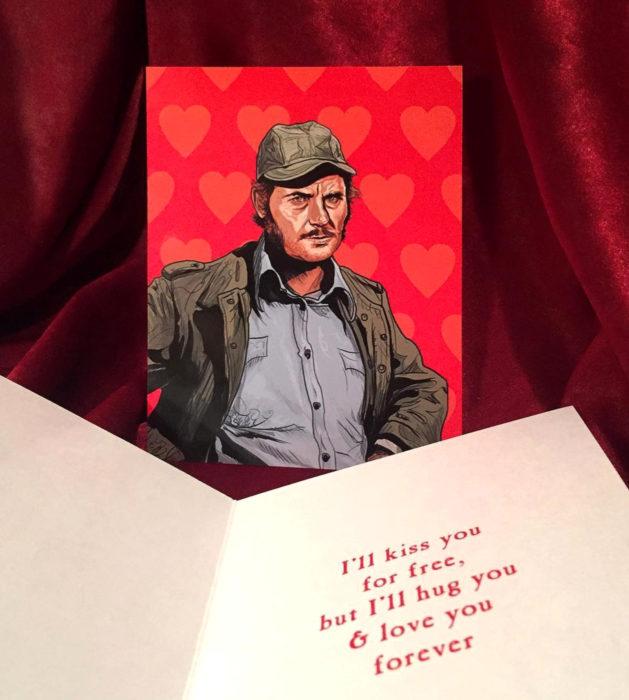 El ilustrador PJ McQuade crea tarjetas de San Valentín de famosos y películas para gemte geek; Quint, Tiburón