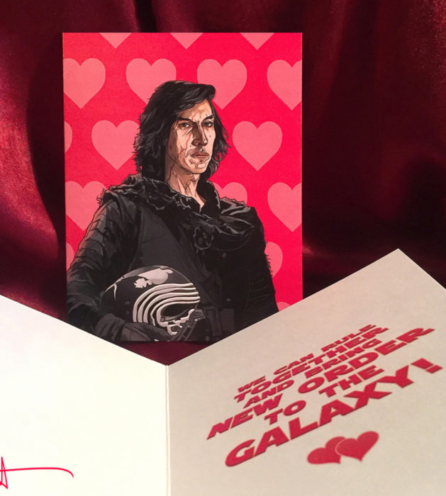 El ilustrador PJ McQuade crea tarjetas de San Valentín de famosos y películas para gemte geek; Kylo Ren, Star Wars
