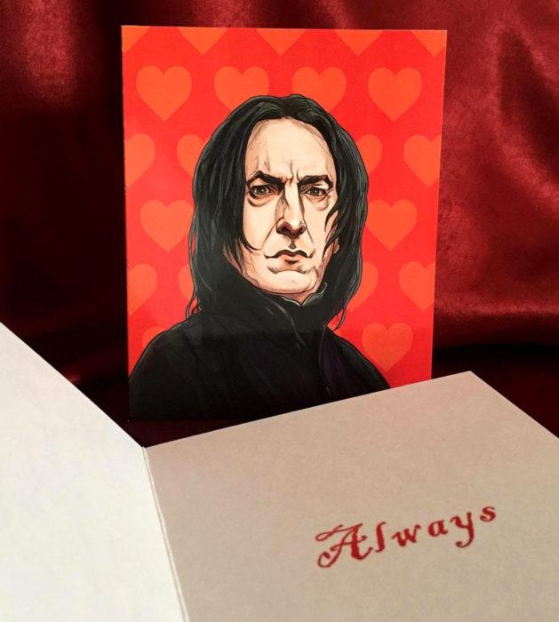 El ilustrador PJ McQuade crea tarjetas de San Valentín de famosos y películas para gemte geek; Severus Snape, Harry Potter