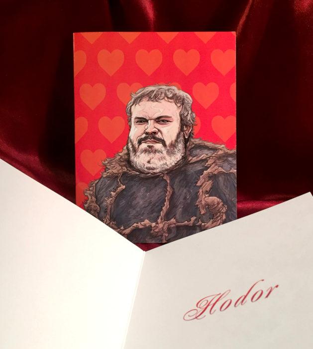 El ilustrador PJ McQuade crea tarjetas de San Valentín de famosos y películas para gemte geek; Hodor, Game of Thrones