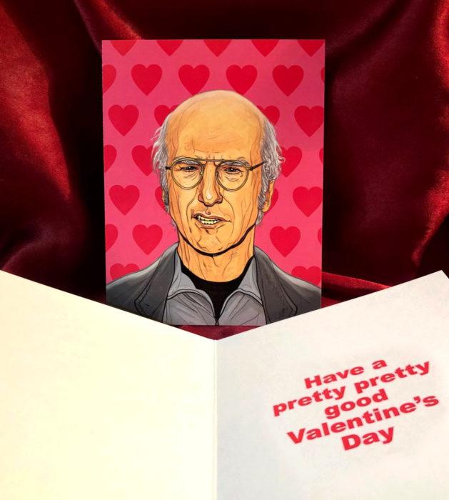 El ilustrador PJ McQuade crea tarjetas de San Valentín de famosos y películas para gemte geek; Larry David