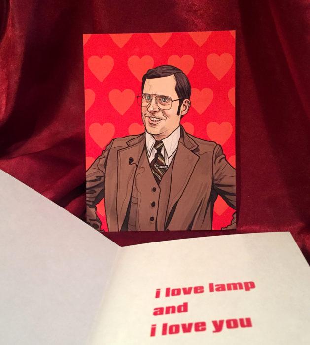 El ilustrador PJ McQuade crea tarjetas de San Valentín de famosos y películas para gemte geek; Brick Tamland, El reportero
