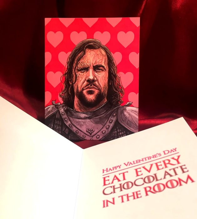 El ilustrador PJ McQuade crea tarjetas de San Valentín de famosos y películas para gemte geek; Sandor Clegane, El Perro, Game of thrones
