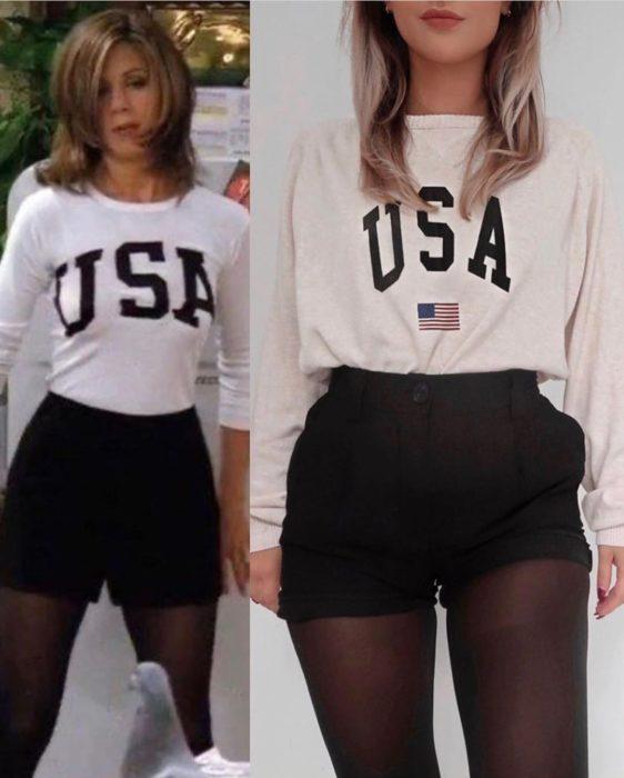 Outfit inspirado en Rachel de Friends usando blusa de USA