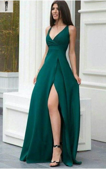 Vestido color jade de fiesta largo