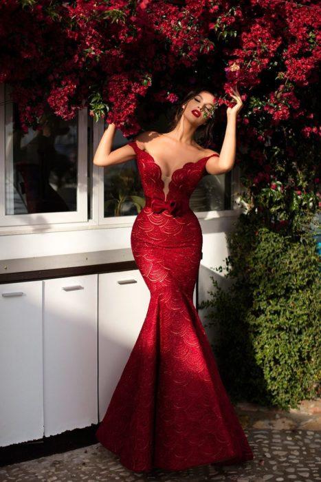 Vestido de sirena color rojo para fiesta formal