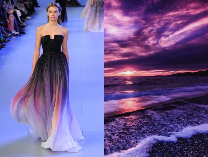 Vestidos inspirados en la naturaleza; vestido de gasa morado, negro y blanco, atardecer en la playa