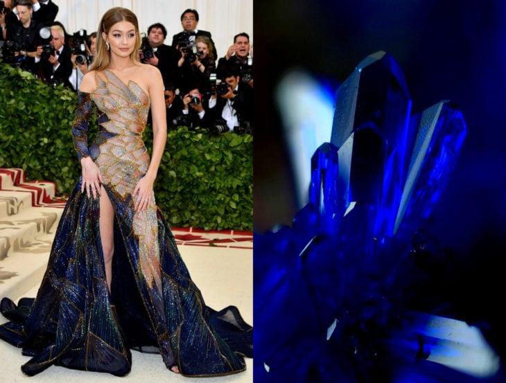 Vestidos inspirados en la naturaleza; cristal zafiro azul rey, Gigi Hadid en el Met Gala con vestido de cristales preciosos