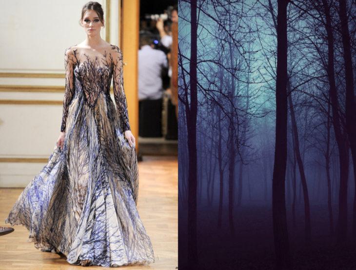 Vestidos inspirados en la naturaleza; vestido de ramas secas, bosque de árboles secos en la noche con neblina