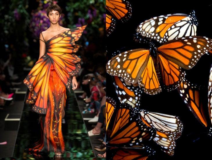 Vestidos inspirados en la naturaleza; vestido de mariposa monarca
