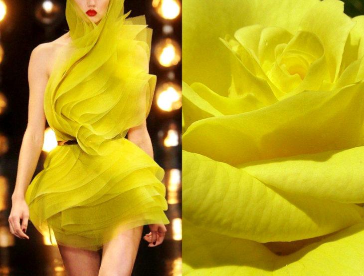 Vestidos inspirados en la naturaleza; vestido amarillo, flor amarilla, rosa