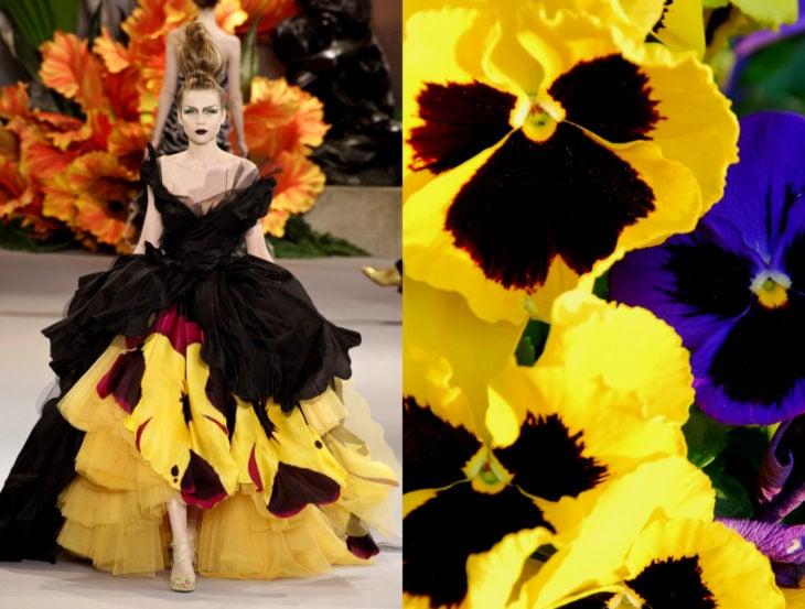 Vestidos inspirados en la naturaleza; vestido de flor pensamiento amarillo con roko