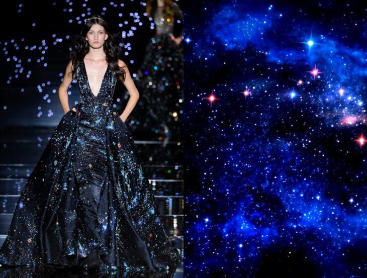Vestidos inspirados en la naturaleza; vestido de estrellas en el universo