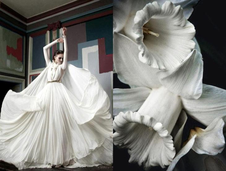 Vestidos inspirados en la naturaleza; vestido blanco con vuelo y mangas, flor blanca, campanilla