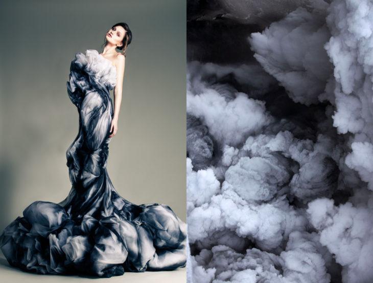 Vestidos inspirados en la naturaleza; vestido corrugado gris con blanco, nubes grises de tormenta