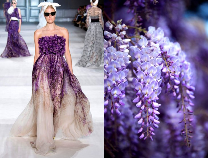Vestidos inspirados en la naturaleza; gran púrpura glicina en flor, vestido de flores moradas de gasa