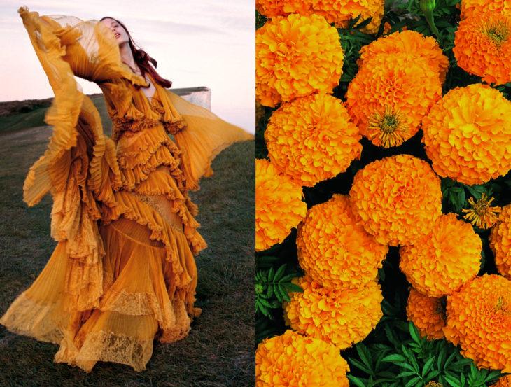 Vestidos inspirados en la naturaleza; flor de cempasúchil, mujer con vestido anaranjado bailando en el campo