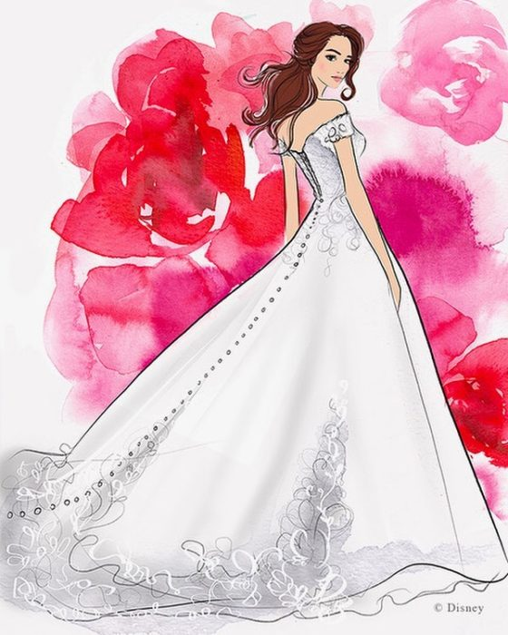 Boceto del vestido de novia creado por allure bridals para Disney