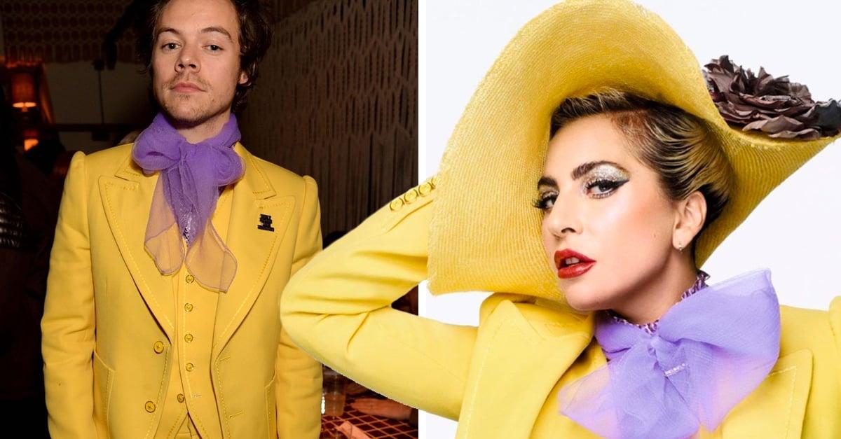 Harry Styles repite el traje amarillo que Lady Gaga Usó en la portada de ELLE
