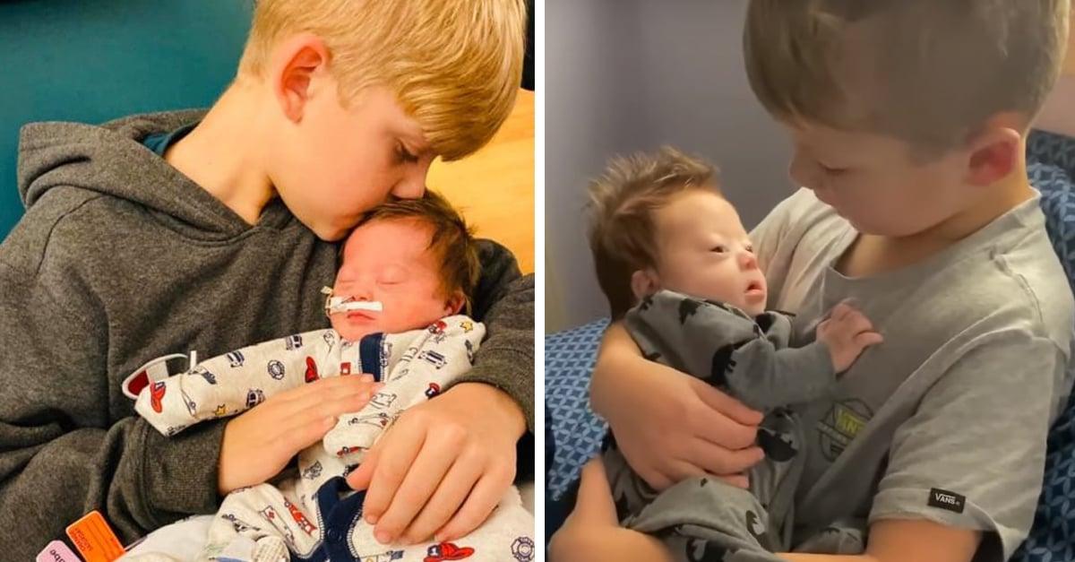 Él le podría cantar todo el día a su hermanito con síndrome de Down