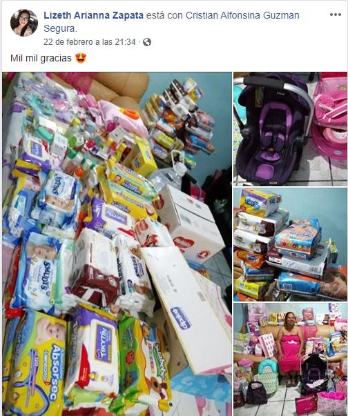 Comentarios en facebook sobre mujer que recibió regalos en su baby shower