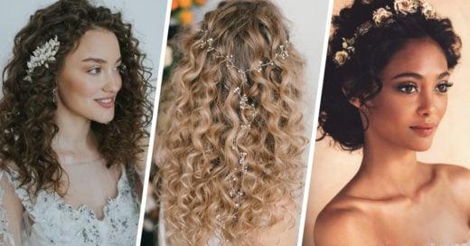 12 Hermosos peinados para novia de cabello rizado